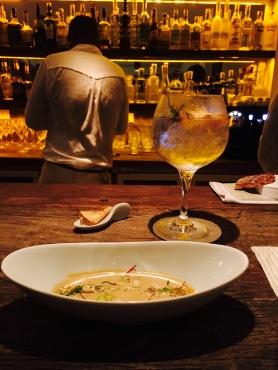 Foie soup. Gin tonic with azafran. 74